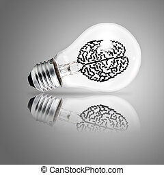 light bulb as concept - 3d pixel icon brain in light bulb as...