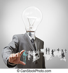 Businessman with light bulb head and employees