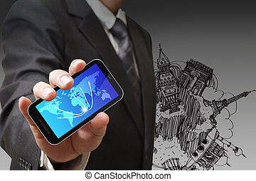 business man shows touch pad concept