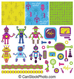 Scrapbook Design Elements - Cute Little Robots Collection - in vector