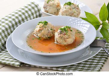 Dumpling soup - Delicious Bavarian bacon dumpling soup