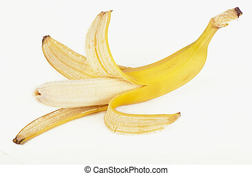 Banana skin - Open banana isolated on the white background