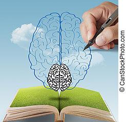 cérebro, conceito, desenhado,  Pixel, mão