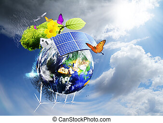 green earth - Collage with solar batteries as alternative...