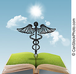 silhouette medical sign - open book of hand drawn silhouette...