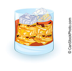 Scotch on rocks - Vector illustration of scotch on rocks...
