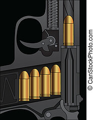 A handgun sectional drawing with bullets loaded Vector...