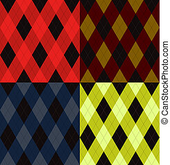 Argyle seamless pattern, four color options. Vector...