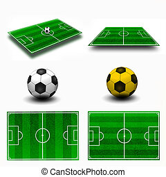 Collage. Soccer field tactic table, map on perspective...
