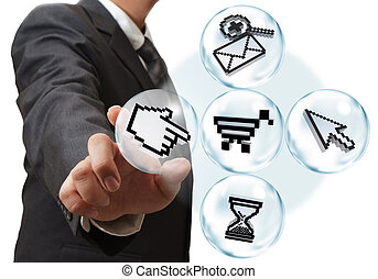 internet pixel icons - business hand and internet pixel...