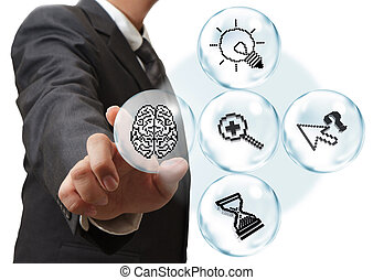 pixel icons in bubble diagram as concept - business hand...