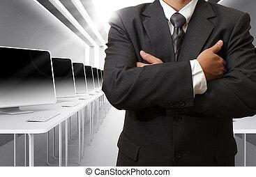 teacher and computer class room - business man,teacher and...