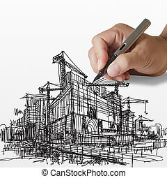 hand draws construction site on paper background