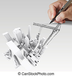 building development concept - abstract 3d of building...