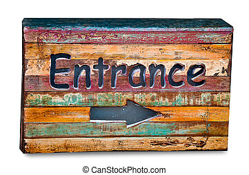 The Old wooden box of entrance way isolated on white background