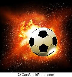 flame soccer ball on fire background