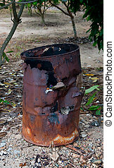 The Old trashcan of burner waste