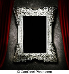 Gallery display - vintage silver frames on an old cement...