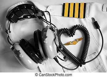 piloto, uniforme, auriculares