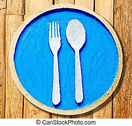les, signe, fourchette, cuillère, plaque