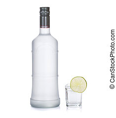 bottle of vodka with lime isolated on white