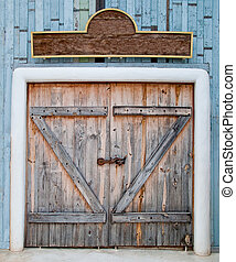The Old wooden door in farm