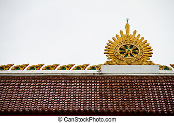 Thai temple roof - Thai temple in Ubonratchathani Thailand
