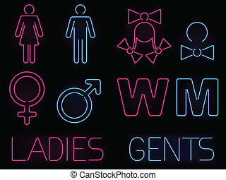Neon gender signs - Set of glowing neon men and women...