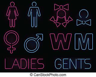 Neon gender signs - Set of glowing neon men and women...