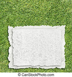 paper on grass - old paper on grass background