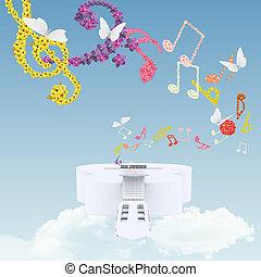 fleurs, musical, blanc, guitare