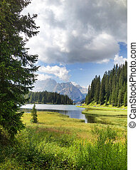 Italian Dolomites Landscape and Colors in Summer Season -...