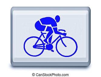 The Sign of bicycle race isolated on white background