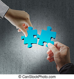 puzzle in business hand