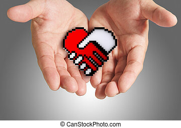 heart shaped symbol as medical technology,clipping path -...