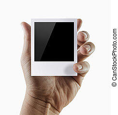 blank photo frame - man hand holding  blank photo frame