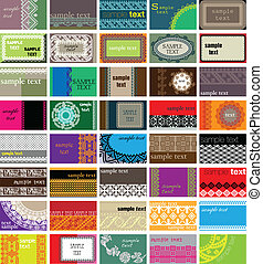 Horizontal business cards. Ancient background