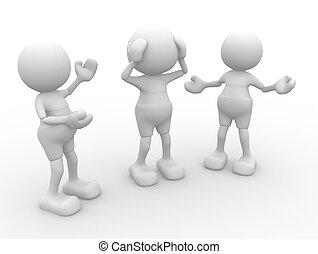 Conversation - 3d people - men, person talking. Conversation...