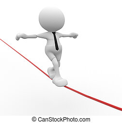 Aerobatics - 3d people - men, person walking on the wire....
