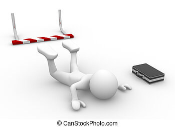 Businessman - 3d people - man, person failing to jump over a...