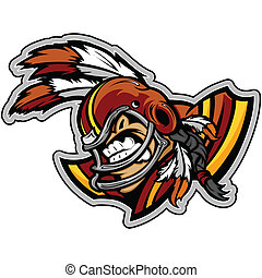 Graphic Vector Sports Illustration of a Snarling American Football Indian Brave Mascot with Feathers on Football Helmet