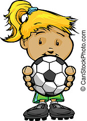 Cartoon Vector Illustration of a Cute Girl Soccer Player with Hands Holding Ball