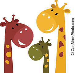 Cute giraffe family isolated on white - Happy cartoon...
