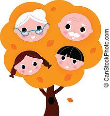 Outono, família, árvore, isolado, branca