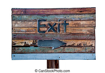 The Sign wooden of exit way isolated on white background