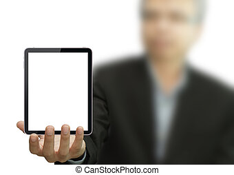 business hand holding a touch pad
