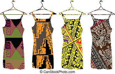 Ancient dresses illustration. Vector illustration