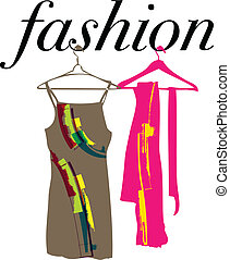 dresses and scarf illustration - Abstract dresses scarf...