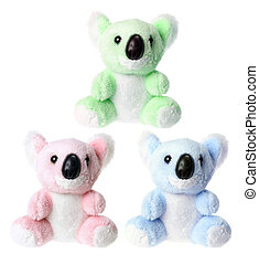 Koala Soft Toys on White Background