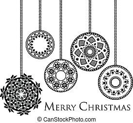 Ancient Christmas balls. Vector illustration